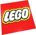 The Lego Company symbol mosaic done in MLCad and with 1x1 size studs