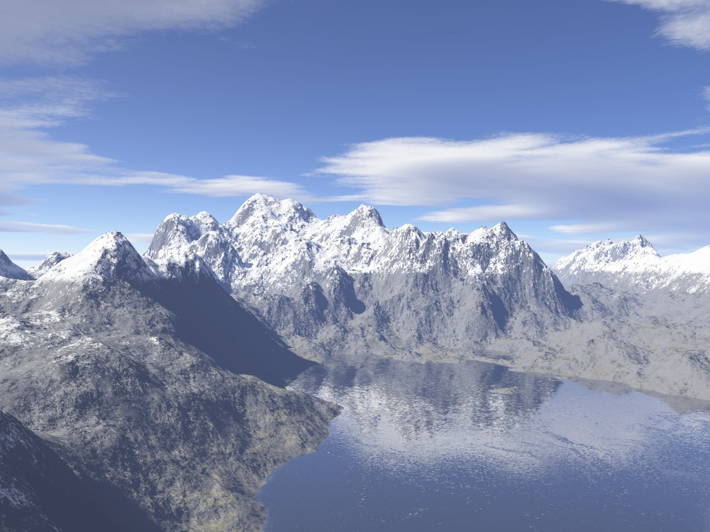 Mountain and Lake Render with snow layers added