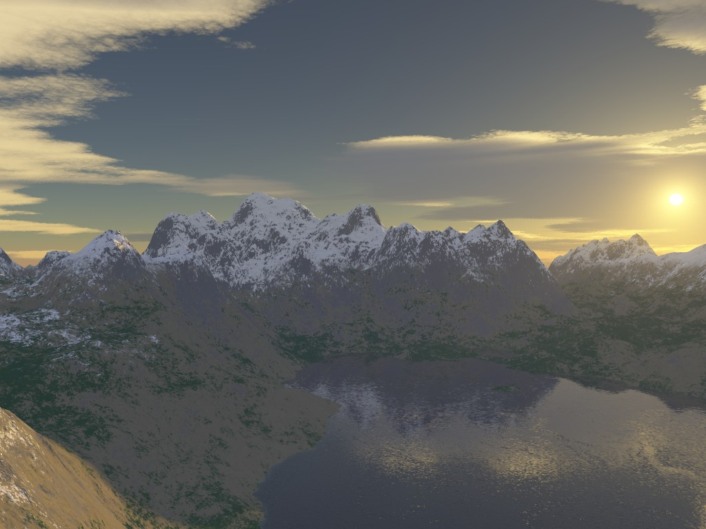 Mountain and Lake Render at end of the day